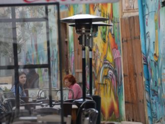 town – cafe with graffiti Mar.2015