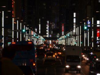 Japan, Tokyo – big road at night, Aug.2014