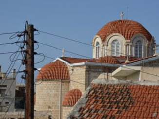 Paphos – church and telegraph pole, Mar.2015