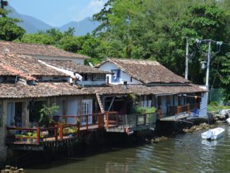 town – houses along the river, Jan.2016
