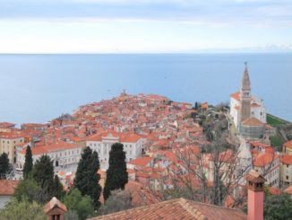 Slovenia, Piran – shape of town, Feb. 2014