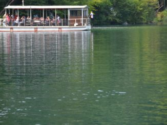 Croatia, Plitvice – reflection of ferry, July 2014