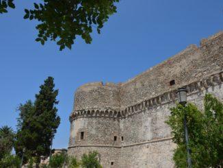 Aragonese Castle and flowers made of veneer