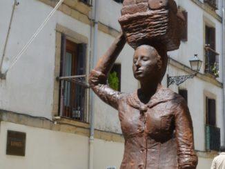 Spain, San Sebastian – statue of working woman, May 2014