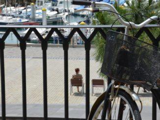 Spain, San Sebastian – bicycle and fence, May 2014
