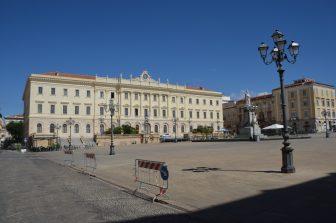 Italy-Sardinia-Sassari-Piazza d'Italia-building-street lamp