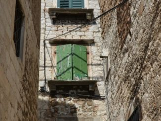 Croatia, Sibenik – flowers and buildings, July 2014