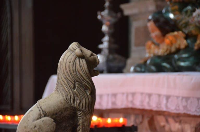 Croatia, Sibenik – lion in the cathedral, July 2014 (Sibenik)