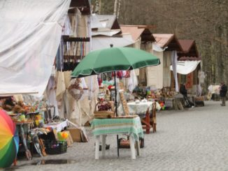 Romania, Sinaia – row of stalls, Apr. 2014