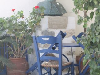 Greece, Syros, Ano Syros – blue chairs, Sept.2013