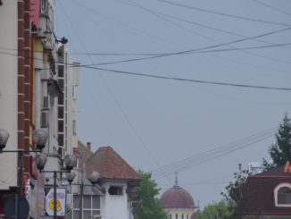 Romania, Taugu Jiu – electric wires, Apr. 2014