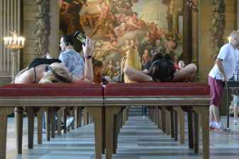 England-London-Greenwich-Old Royal Naval College-The Painted Hall-people-lying