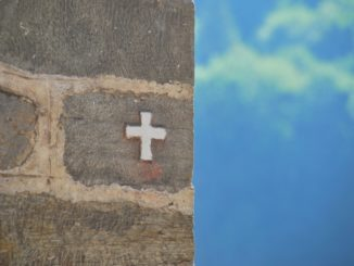 Bulgaria, Rila – cross on the wall, 2011