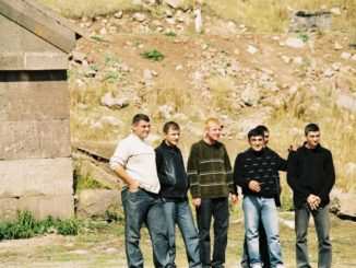 Armenia, caravansary – young men, Autumn 2005