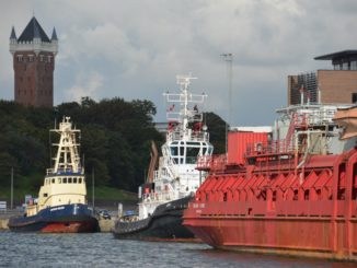Denmark, Esbjerg – boats and tower Aug. 2012