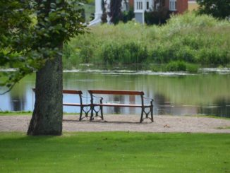 Denmark, Ribe – pond and benches, July2012