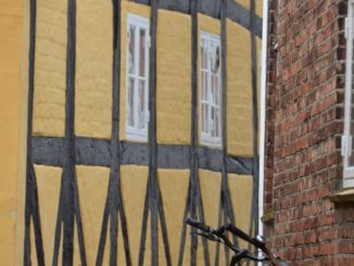 Denmark, Ribe – yellow house and bicycle, July 2012