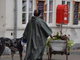 Denmark, Ribe – woman & dog, July 2012