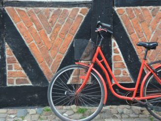 Denmark, Ribe – red bicycle, July2012