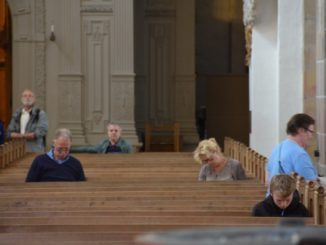 Denmark, Ribe – people in church, July2012