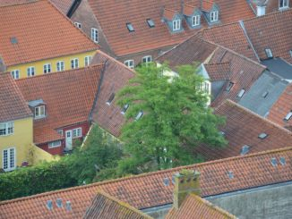 Denmark, Ribe – houses from top, July 2012