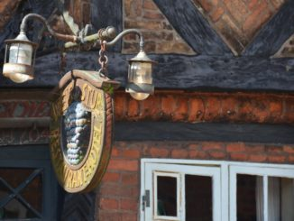 Denmark, Ribe – sign with light, July 2012