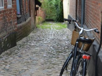 Denmark, Ribe – bicycle in the alley, July2012