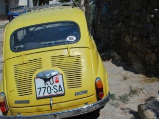 Macedonia, Kratovo – yellow car, 2011
