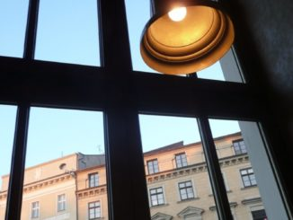 Poland, Krakow – window and lamp, May 2009