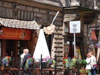 Poland, Krakow – front of a restaurant, May 2009