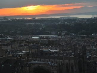 The striking sunset view from Calton Hill