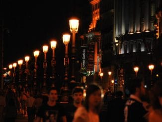 Spain, Madrid – rows of lamps, July 2012