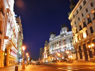 Spain, Madrid – street at night, July 2012