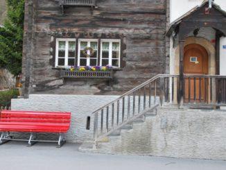 Switzerland, Zermatt – red bench, May 2012
