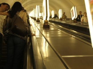 Ukraine, Kiev – long escalator, 2011