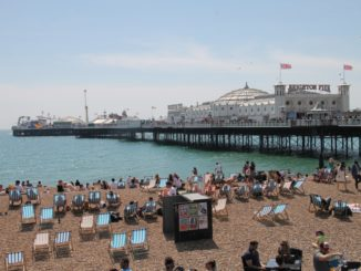 beach – pier and deckchairs, May 2016