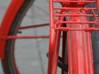 town – red bicycle, May 2016