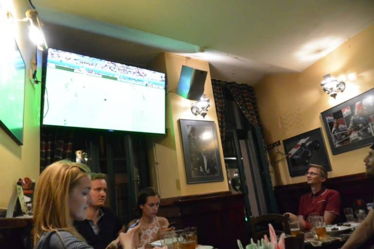 Watching the football match at a pub
