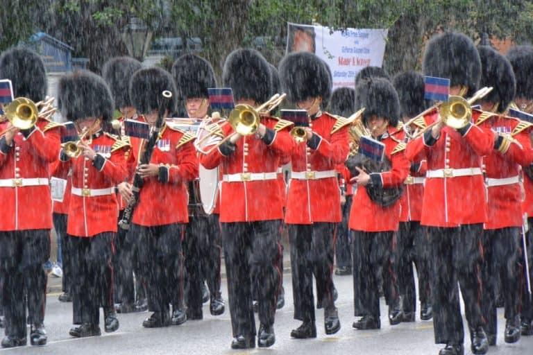 March in the heavy rain