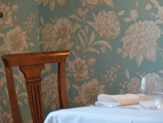 Poland, Warsaw – Rozana restaurant, chair and wallpaper, Aug.2016