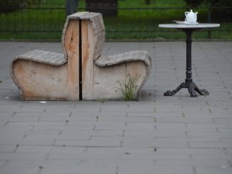 Poland, Warsaw – benches and table, Aug.2016