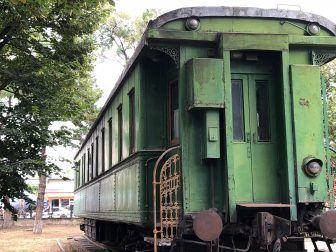 博物館のの敷地内に展示された専用列車