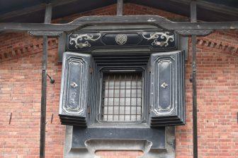 Japan-Akita-Kakunodate-Ando Jozo-brick warehouse-window