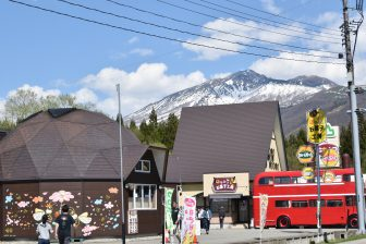 Japan-Akita-Lake Tazawa-honey shop-double decker-snow mountain