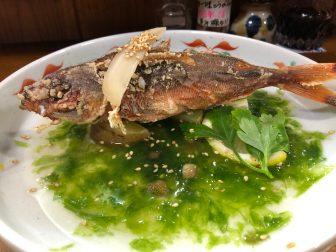 Japan-Miyakojima-Hiraracho-restaurant-PouchaTatsuya-fried Gurukun-Okinawa fish