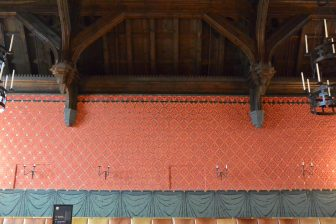 Norway-Oslo-Akershus Castle-The Hall of Olav V-wall- wooden ceiling