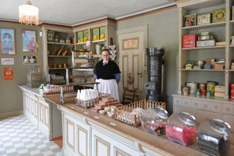 Norway-Oslo-The Norwegian Museum of Cultural History-Old Town-grocery shop-shop assistant