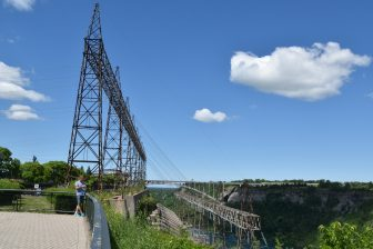 Canada-Niagara River-hydroelectric power station-blue sky-clouds