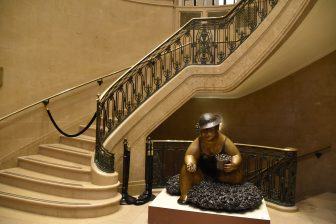 Canada-Quebec City-Le Château Frontenac-inside-staircase-statue