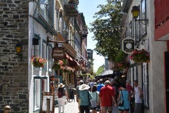 Canada-Quebec City-Lower Town-Petit Champlain-people